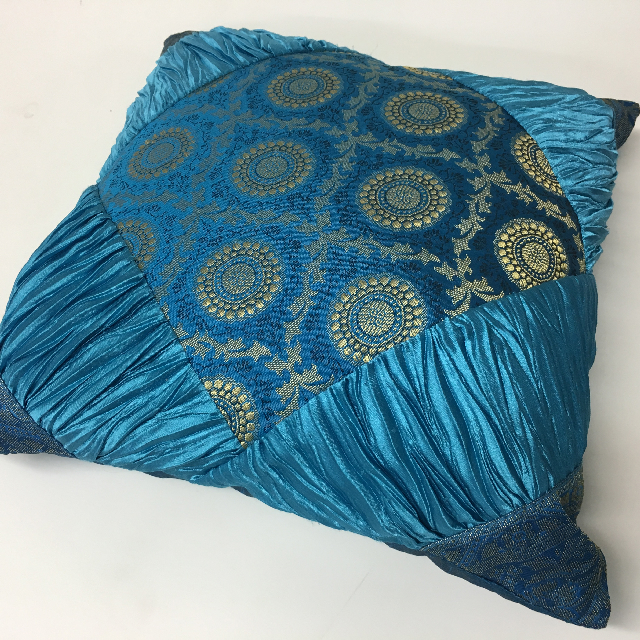 CUS0022 CUSHION, Indian - Aqua Blue 40cm $10