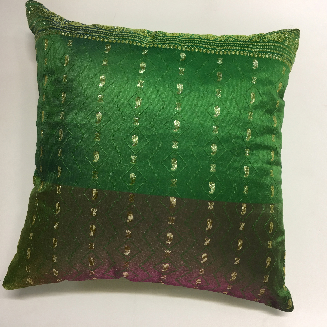 CUS0023 CUSHION, Indian Sari - Green 40cm $10