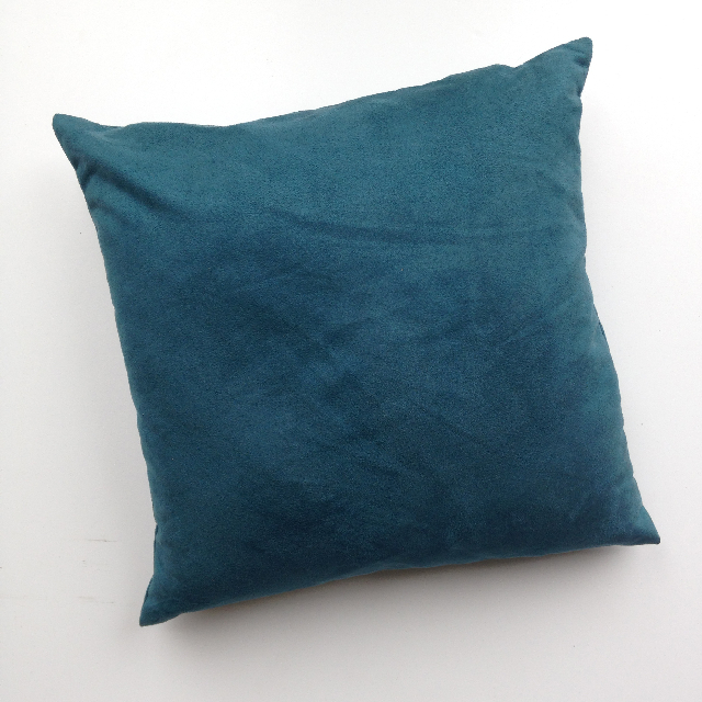 CUS0025 CUSHION, Teal Blue Velvet Feel 40cm (1 is embroidered on one side) $10