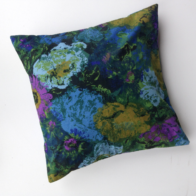 CUS0035 CUSHION, Floral Green, Purple & Blue 40cm $10