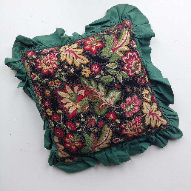 CUS0039 CUSHION, Quilted Green & Red Floral w Green Frill 35cm  $8.75