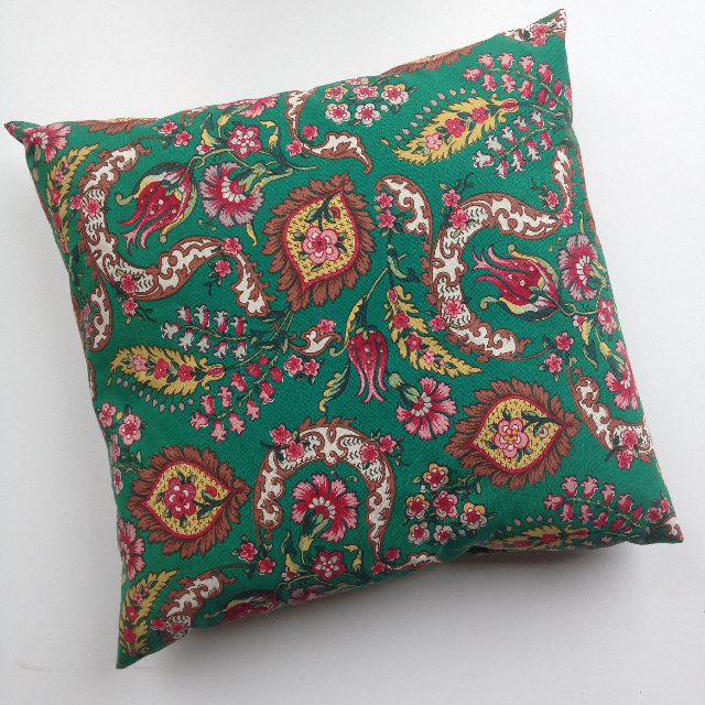 CUS0040 CUSHION, Green and Red Floral 40cm $10