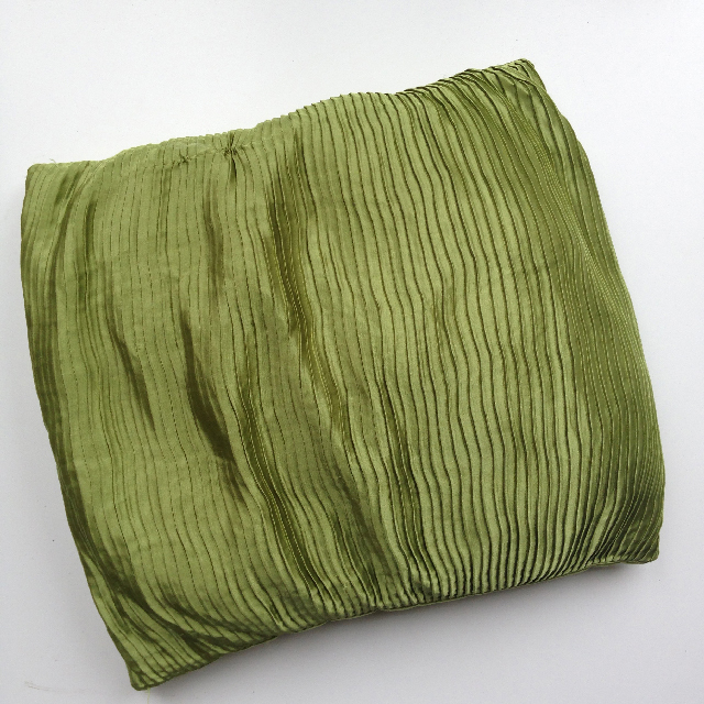 CUS0041 CUSHION, Lime Green Silk Pleated 50cm $10