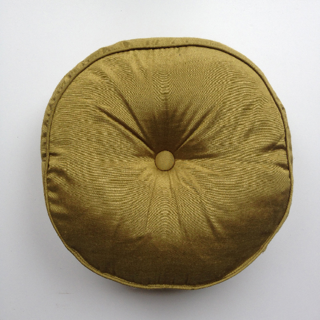 CUS0046 CUSHION, Green Silk Seat Pad Round 40cm $10