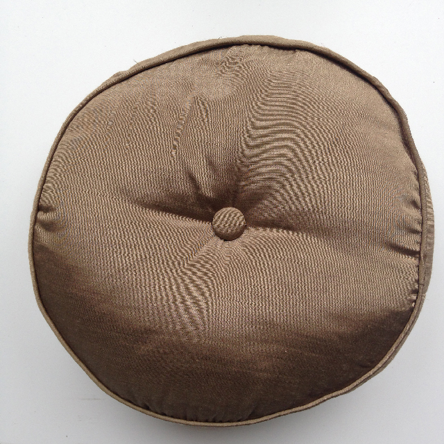 CUS0057 CUSHION, Brown Silk Seat Pad Round 40cm $10