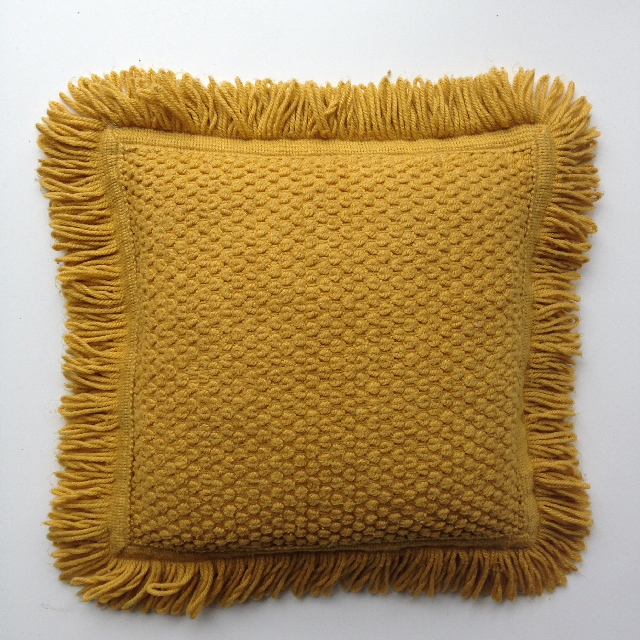 CUS0079 CUSHION, 1970's Yellow Mustard Knit w Fringe $10
