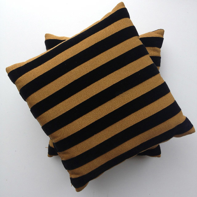 CUS0093 CUSHION, Black Gold Stripe $10