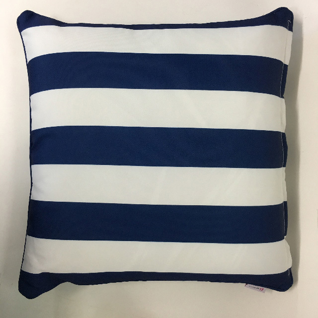 CUS0232 CUSHION, Blue & White Stripe 45cm $12.50