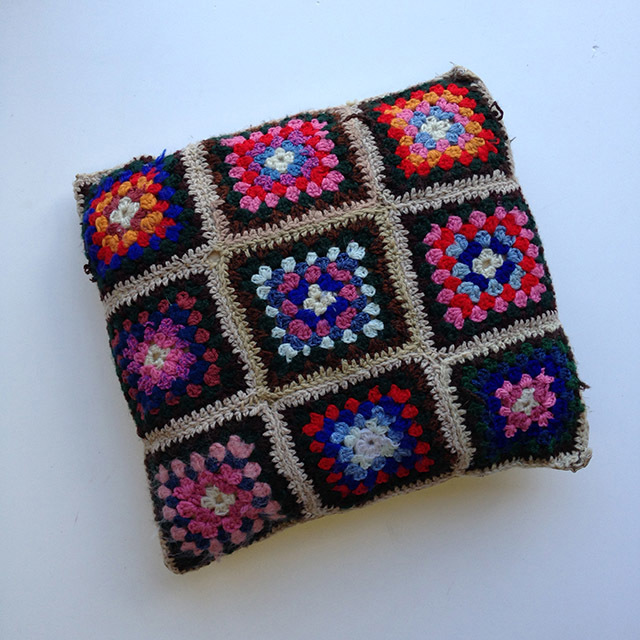 CUS0130 CUSHION, Crochet -1970's Multicolour Squares $10