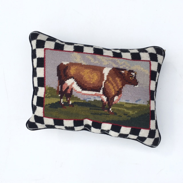 CUS0132 CUSHION, Cross Stitch Cow (Ex Small) $6.25