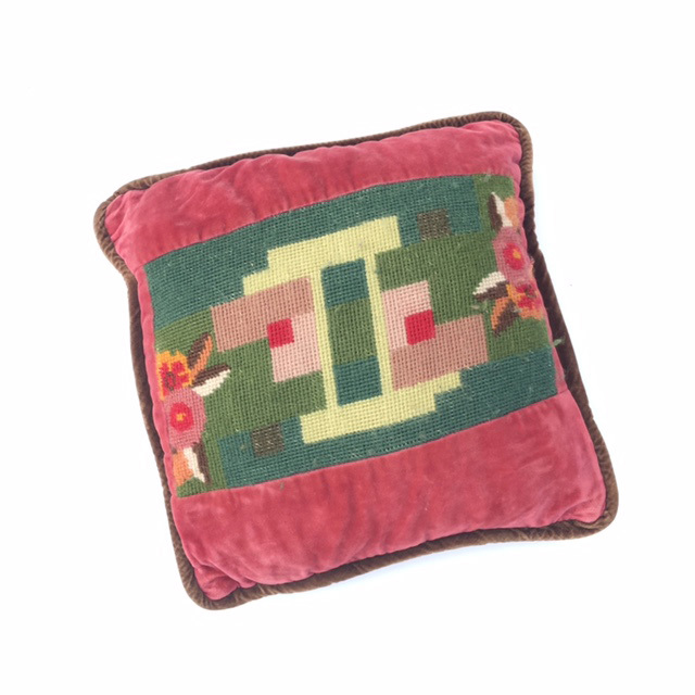 CUS0133 CUSHION, Cross Stitch Panel In Pink Velvet (Ex Small) $6.25