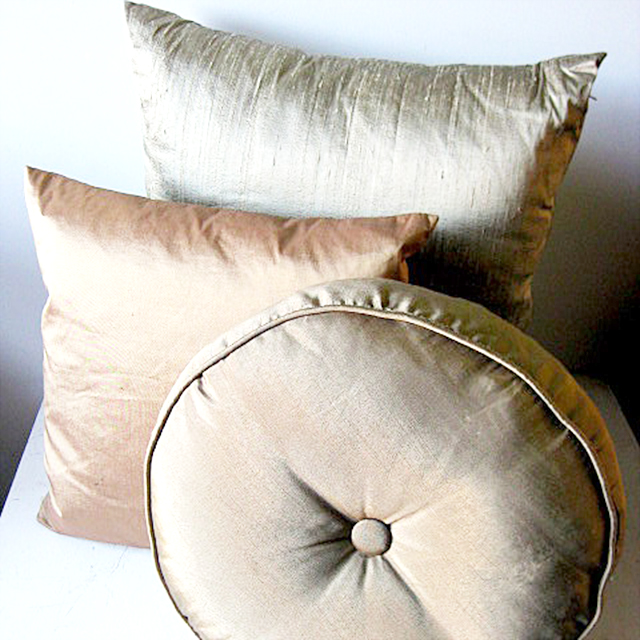 Collection of Neutral Silk Cushions