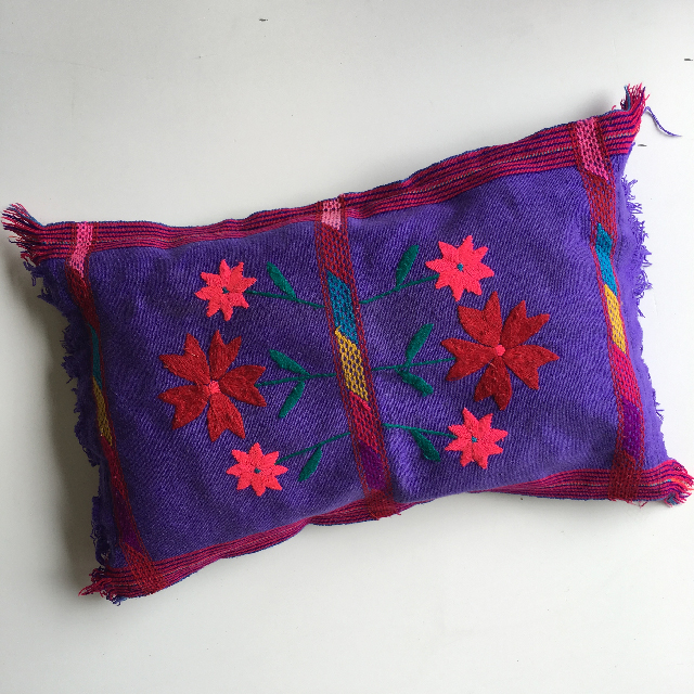 CUS0176 CUSHION, Purple Embroidered Pillow $10