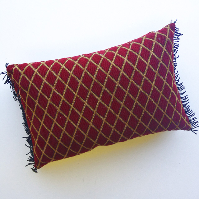 CUS0187 CUSHION, Red Gold Diamond Pattern w Fringing $20