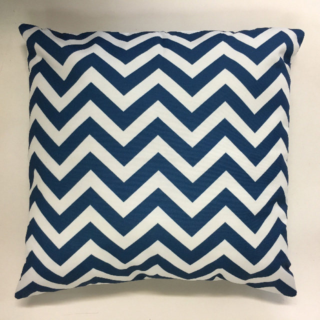 CUS0231 CUSHION, Blue & White Chevron 45cm $12.50