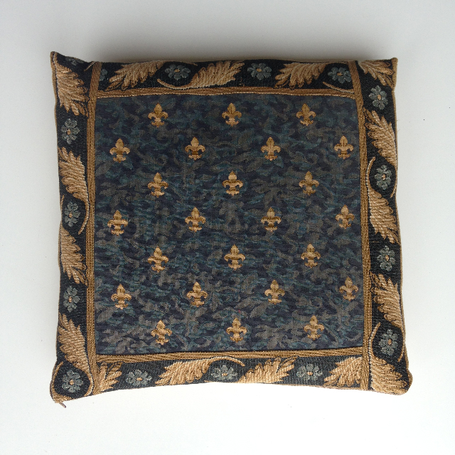 CUS0206 CUSHION, Tapestry - Blue Gold Fleur De Lys w Border $10