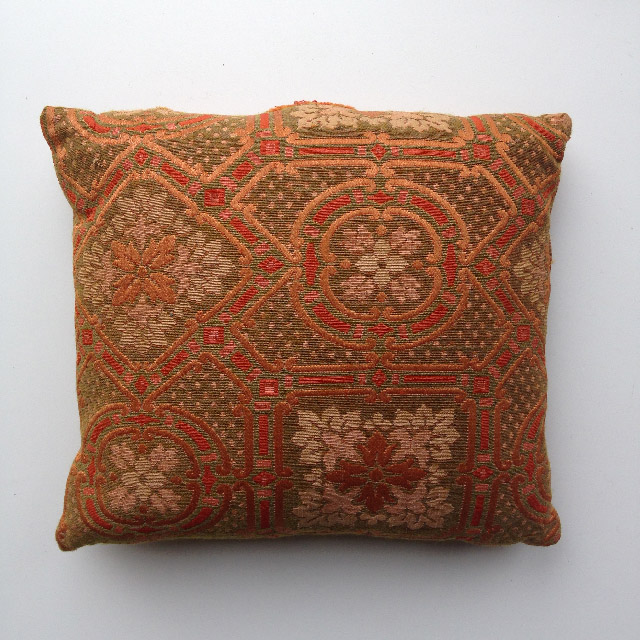 CUS0207 CUSHION, Tapestry - Orange Brown 1970's $10