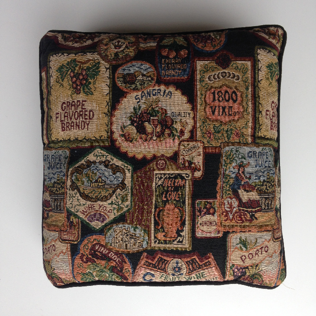 CUS0215 CUSHION, Tapestry - Vintage Labels $10