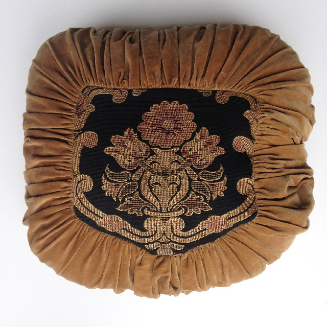 CUS0219 CUSHION, Victorian Floral - Black Tapestry In Brown Velvet Pintuck $15