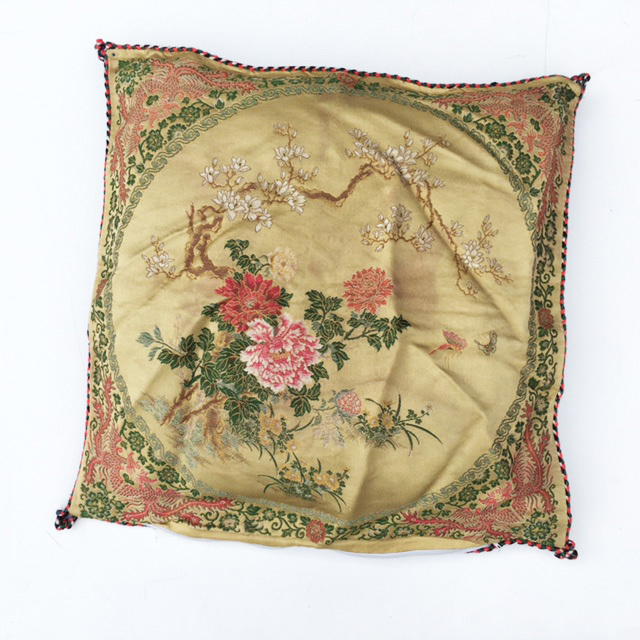 CUS0221 CUSHION, Victorian Floral - Pink & Green Silk w Blossom Tree $15