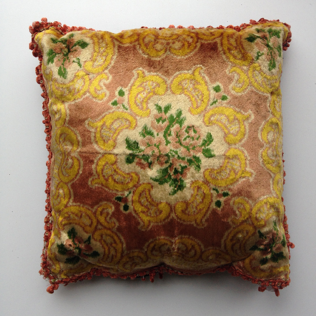 CUS0222 CUSHION, Victorian Floral - Pink & Yellow Velvet $15