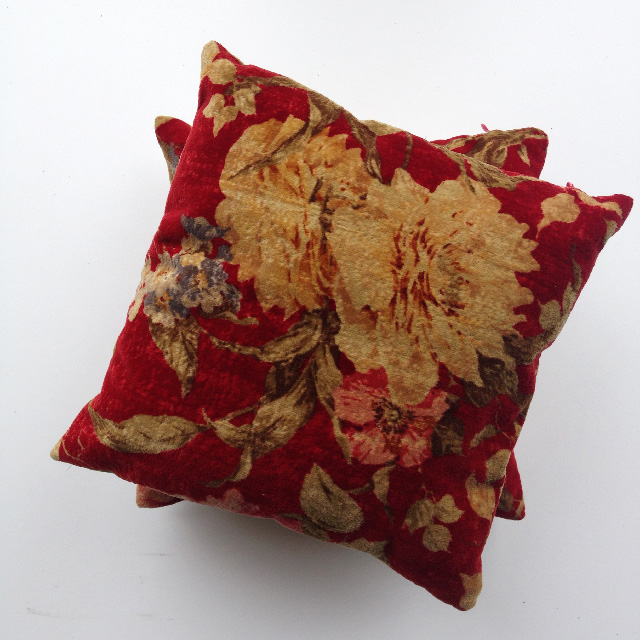 CUS0223 CUSHION, Victorian Floral - Rust Red (Ex Small) $10