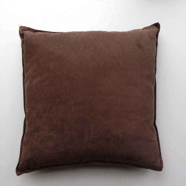 CUS0061 CUSHION, Brown Faux Suede $10