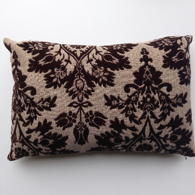 CUS0062 CUSHION, Brown Floral Damask $10