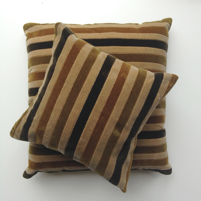 CUS0063 CUSHION, Brown Olive Stripe $10