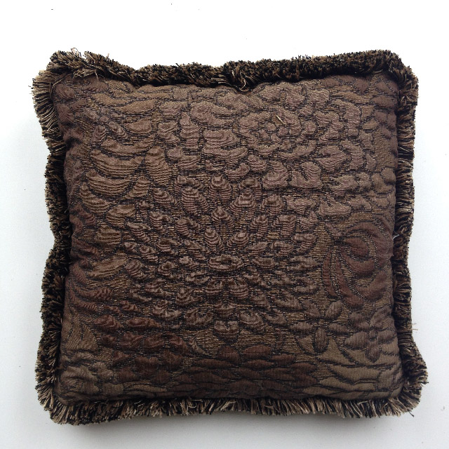 CUS0059 CUSHION, Brown Embroidered Floral w Fringe $10