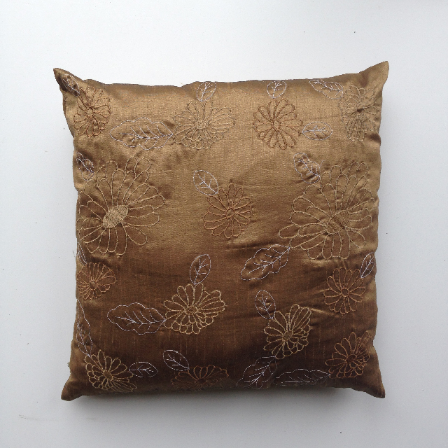CUS0069 CUSHION, Brown w Embroidered Flowers $10