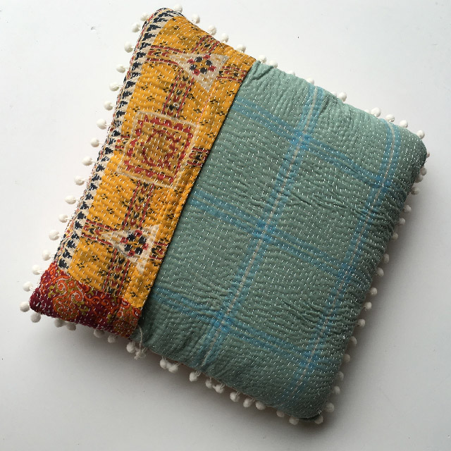 CUS0150 CUSHION, Indian Patchwork - Blue Yellow $10