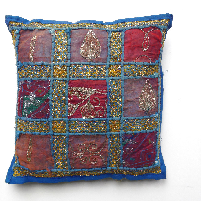 CUS0151 CUSHION, Indian Patchwork - Blue $10