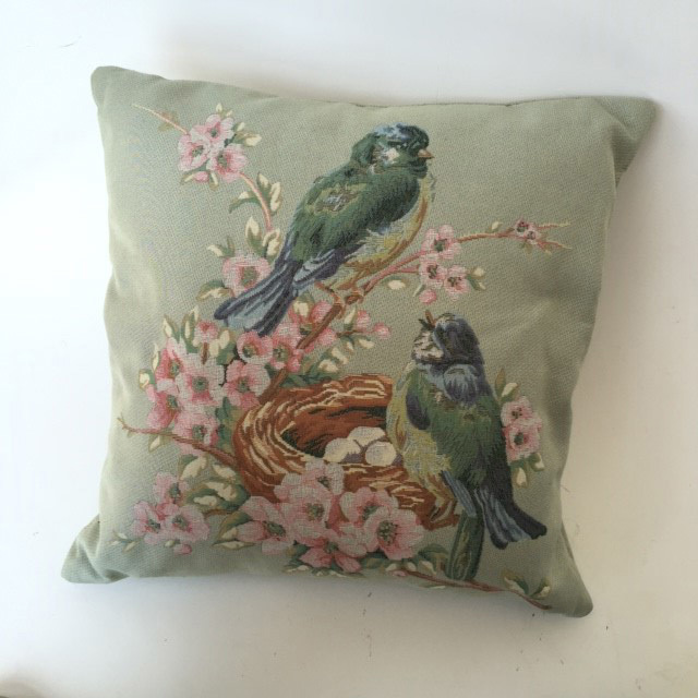 CUS0234 CUSHION, Neutral Blue Grey Birds $10