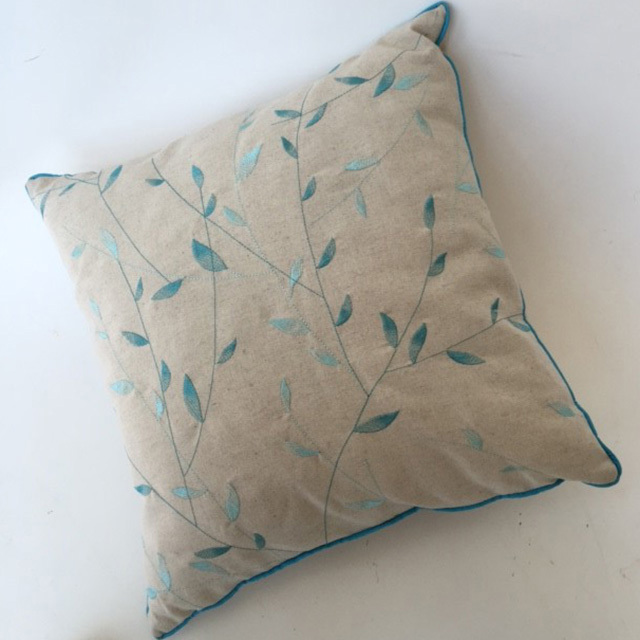 CUS0235 CUSHION, Neutral Blue Leaves $10
