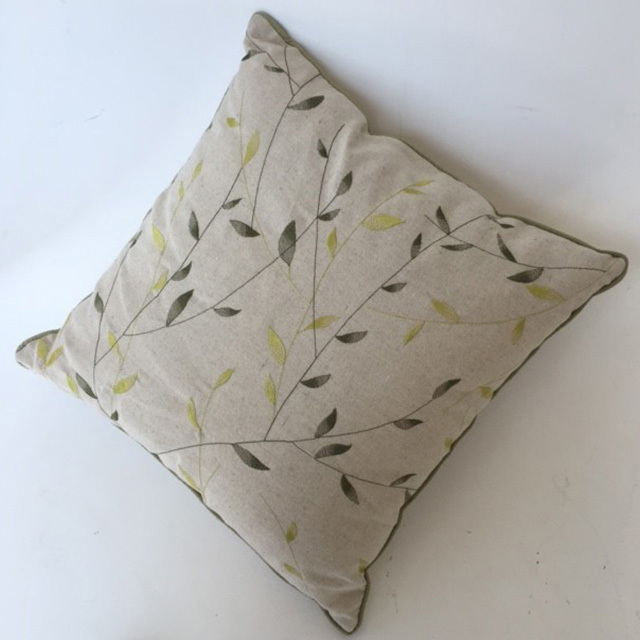 CUS0236 CUSHION, Neutral Green Leaves $10