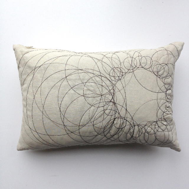 CUS0160 CUSHION, Off White w Black Circular Stitch Design $10
