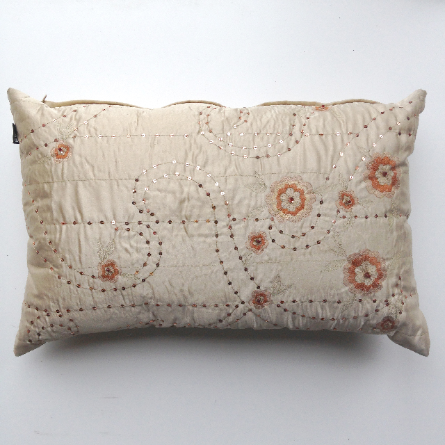CUS0161 CUSHION, Off White w Embroidered Flowers & Sequins $10