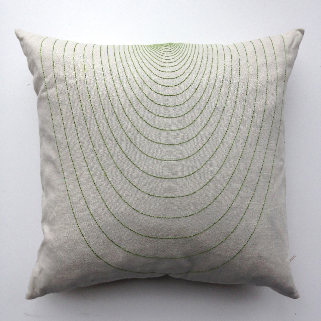CUS0162 CUSHION, Off White w Green Stitch Design $10
