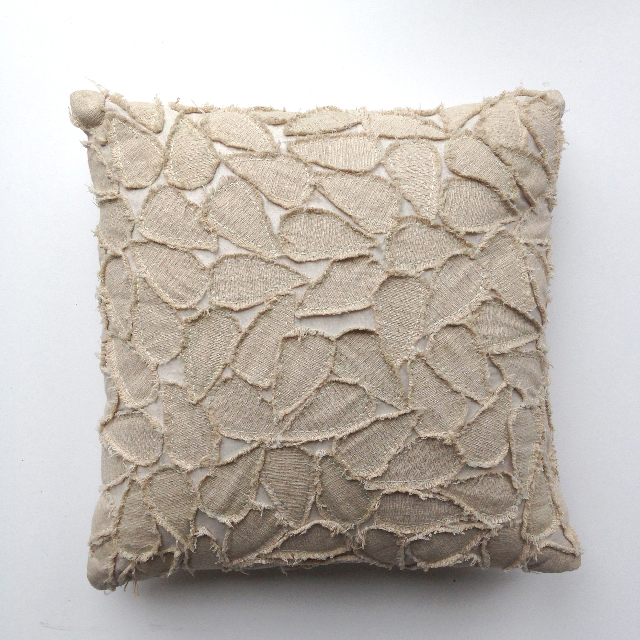 CUS0163 CUSHION, Off White w Raw Edge Leaf Detail $10
