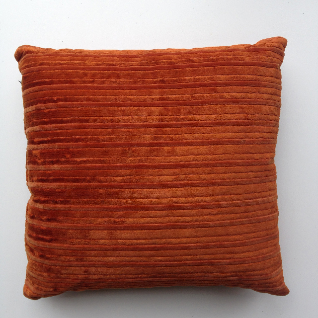 CUS0195 CUSHION, Rust Brown Corduroy $10
