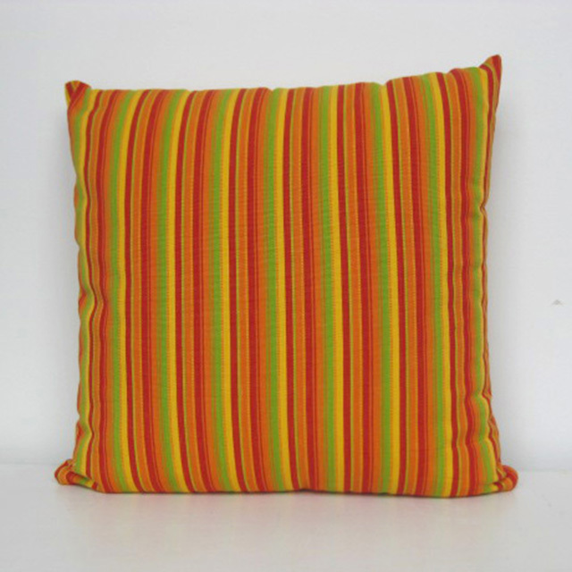 CUS0201 CUSHION, Stripe - Orange Yellow Red & Green 40cm $10