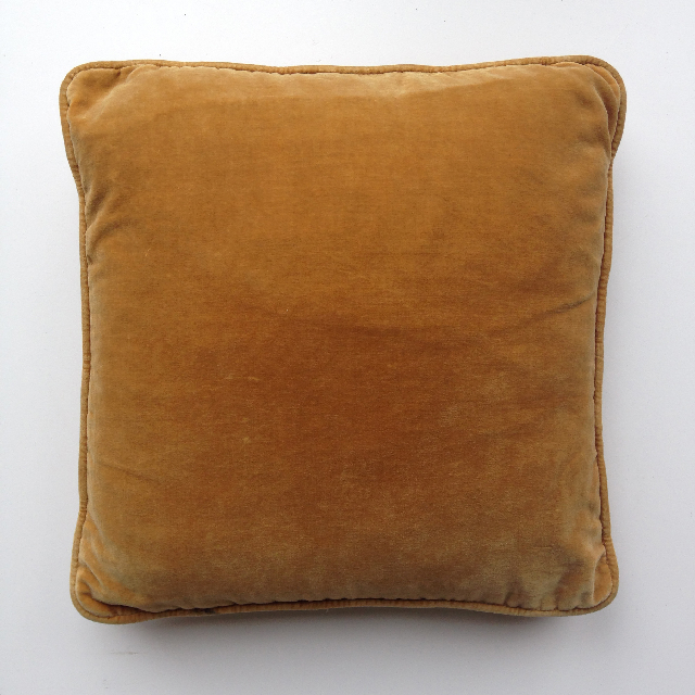 CUS0229 CUSHION, Yellow Velvet (Mustard) $10