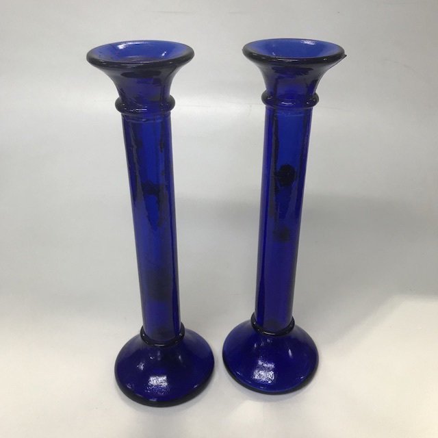 CAN0068 CANDLESTICK -Pair Blue Glass $6.25