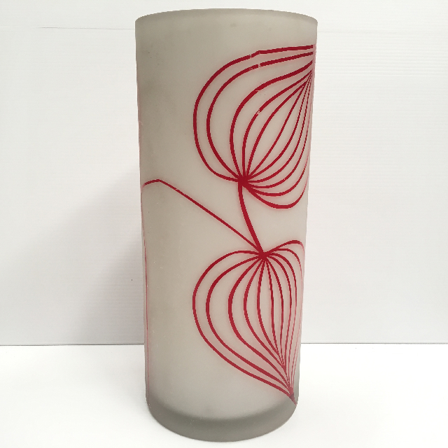 VAS0010 VASE (Large), Opaque Glass w Red Floral $12.50