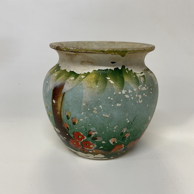 VAS0040 VASE, Art Deco - Australian Pottery Painted Blue Green Floral (very worn) $12.50