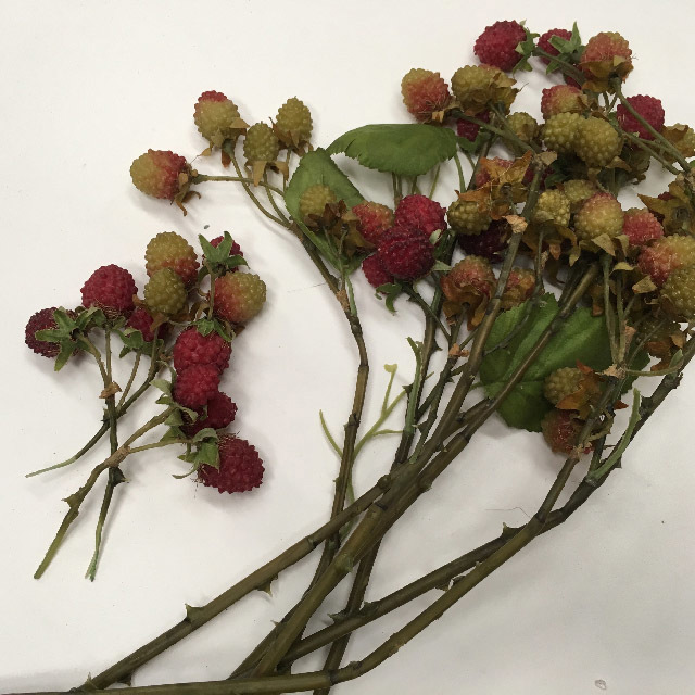 FRU0021 FRUIT, Artificial - Raspberry Stem $2