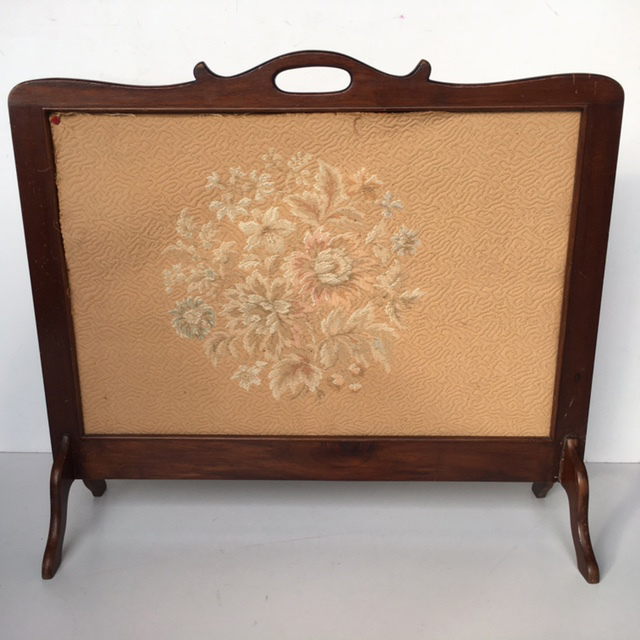 FIR0012 FIRE SCREEN, 1930s Timber w Fabric Insert $37.50