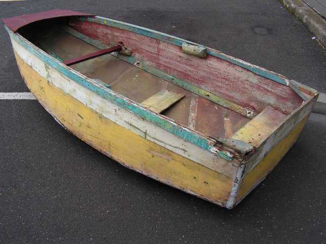 BOA0002 BOAT, Small Timber Row Boat, 90cm x 2.1m - Blue Yellow Maroon $125