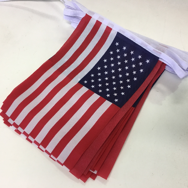 BUN0030 BUNTING, USA - 30 Flags 15cm x 23cm x 8m length $5